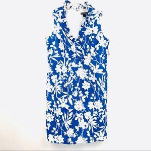 Jessica Howard Blue Floral Plunge Ruffle Dress